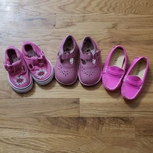 Three pairs Toddler Size 5 shoes